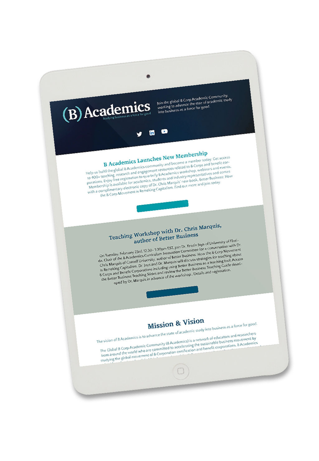 B Academics Website on iPad